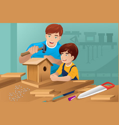 father son making a birdhouse vector image