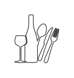 figure wine bottle glass and cutlery icon vector image