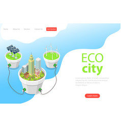 Flat isometric landing page template of eco vector