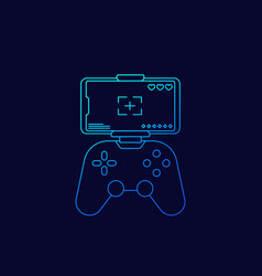 Gamepad for smartphone line icon vector