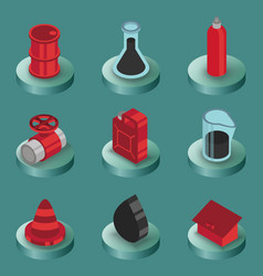 gas color isometric icons vector image