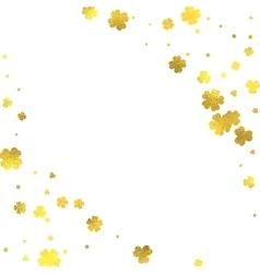 Gold glittering foil flowers on white background vector