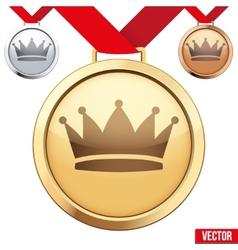 Gold Medal with the symbol of a crown inside vector image