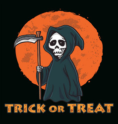 Grim reaper with moon background halloween card vector