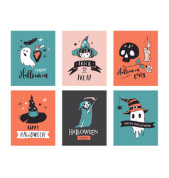 Halloween party hand drawn modern cards set vector