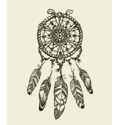 Hand drawn dreamcatcher with feathers vintage vector