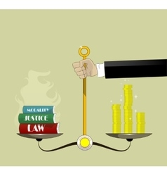 Hand holding justice scales with money and law vector