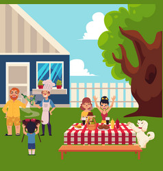 Happy family having bbq picnic in the yard vector