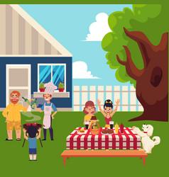 Happy family having bbq picnic in yard vector