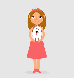 Happy girl holding a dog in her arms and smiling vector