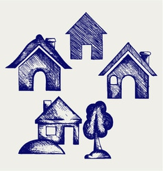 Houses icons set vector