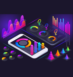 isometric view smartphone screen holographic vector image