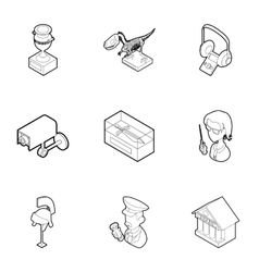 Items in museum icons set outline style vector image