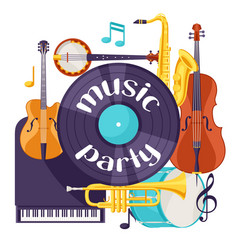 Jazz music party retro background with musical vector