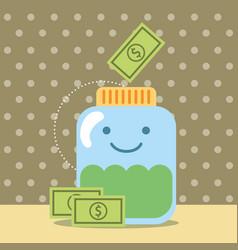 Kawaii jar cartoon banknote money donate charity vector