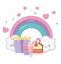 Kawaii rainbow and happy birthday design vector
