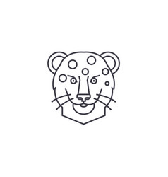 Leopard head line icon sign vector