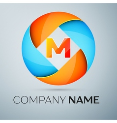 Letter M logo symbol in the colorful circle vector