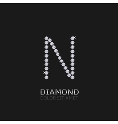 Letter N with gemstones vector