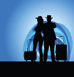 Man and woman with travel bag on moonlight vector