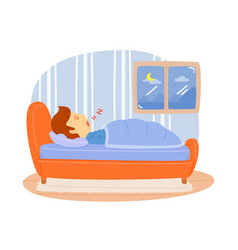 Man sleeping on the bed in the bedroom relax from vector