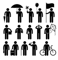 man with random objects stick figure pictogram vector image