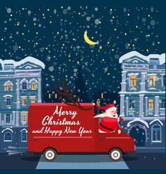 merry christmas santa claus van delivering gifts vector image