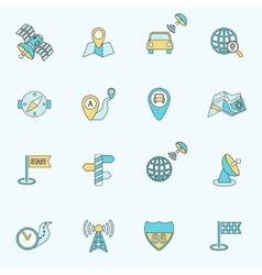Mobile navigation icons flat line vector image
