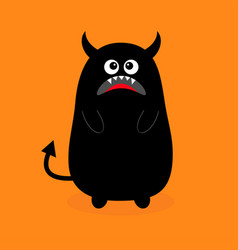 monster black silhouette sad emotion fang tooth vector image