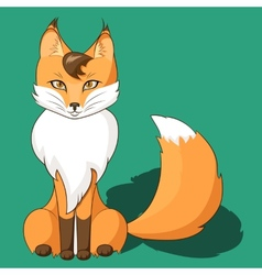 Orange fox sitting isolated on neutral background vector
