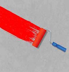 paint roller and a gray concrete wall vector image