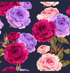 pattern with vintage roses buds and leaves vector image
