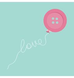 Pink button balloon Love thread card Flat design vector