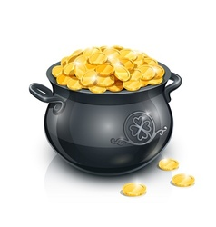 Pot with gold coin vector