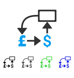 Pound dollar flow chart flat icon vector