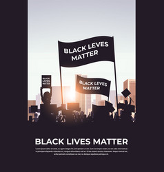 Protesters with black lives matter banners vector