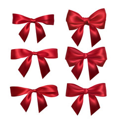 realistic red bow isolated on white element for vector image