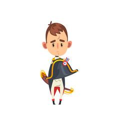 Sad napoleon bonaparte cartoon character comic vector