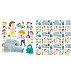 seamless background design with kids and illness vector image