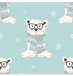 Seamless Merry Christmas patterns with polar bear vector