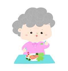 Senior eating healthy food cartoon vector