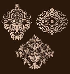 set damask ornamental elements elegant vector image