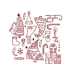 Set of red decorative hand drawn christmas vector image