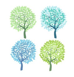 Set of the decorative colorful trees vector image