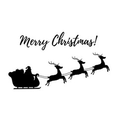 silhouette of sleigh with santa reindeers vector image