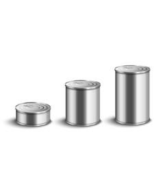 Silver aluminium tin cat set in small medium and vector