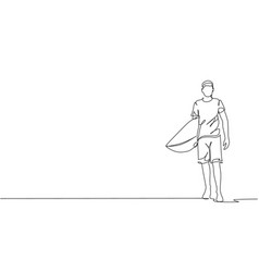 single continuous line drawing young vector image