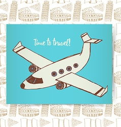 Sketch poster with plane vector image
