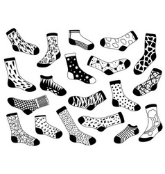 Sock sketch hand drawn long and short trendy vector