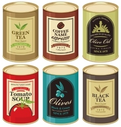 tin can with label various canned foods vector image